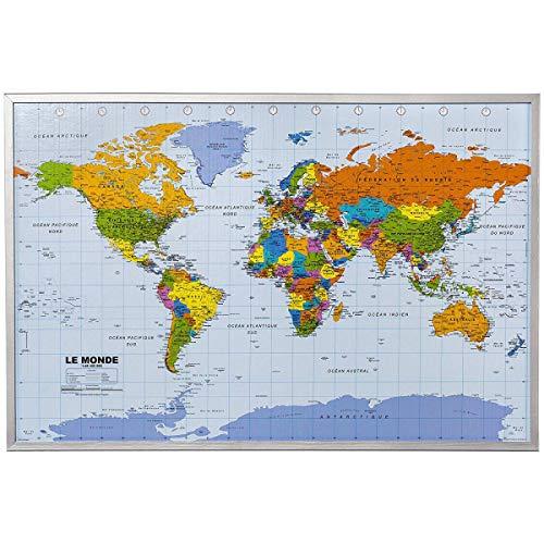 Carte du monde de mur XXL - y compris 12 drapeaux de marqueur - liège - 90 x 60 cm - Carte du monde, français