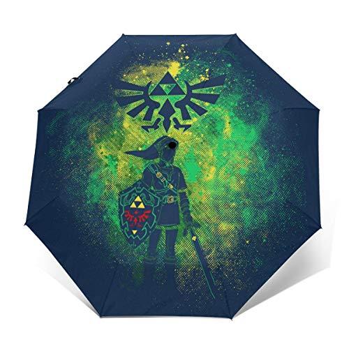 Hyrule Art Legend of Zelda Link Paraguas Plegable Compacto de Apertura y Cierre automático, Plegable, Parasol de Viaje