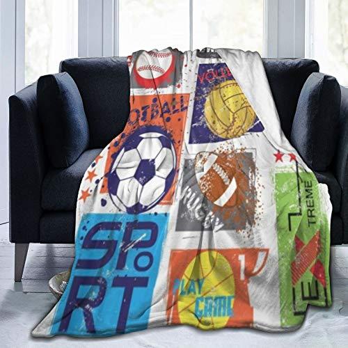QIUTIANXIU Mantas para Sofás de Franela 150x200cm Deporte para un diseño Original con Pelota, fútbol, Baloncesto, Tenis, Rugby para niños Manta para Cama Extra Suave