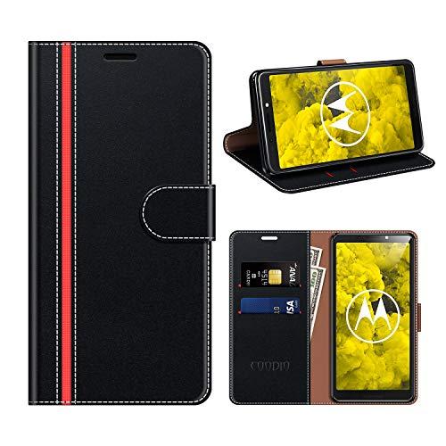 COODIO Motorola Moto G6 Play Hülle Leder, Moto G6 Play Kapphülle Tasche Leder Flip Cover Schutzhülle Rugged für Motorola Moto G6 Play Handyhülle, Schwarz/Rot