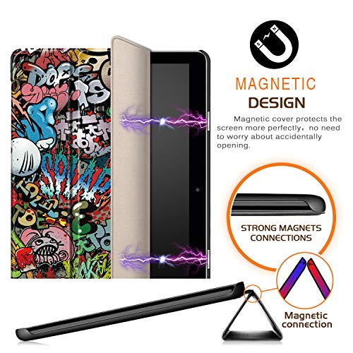 Xuanbeier Huawei MediaPad T3 10 Hülle Case-Ultra Dünn und Leicht PU Leder Schutzhülle Cover für Huawei MediaPad T3 10(9,6 Zoll) (Z-Graffiti) - 6