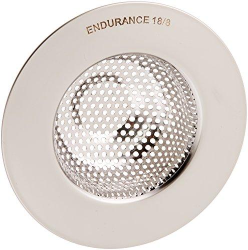 "RSVP International Endurance Stainless Steel Large Sink Strainer, 4.5"" | Traps Food Scraps | Polished Finish with Precision Pierced Holes | Dishwasher Safe"
