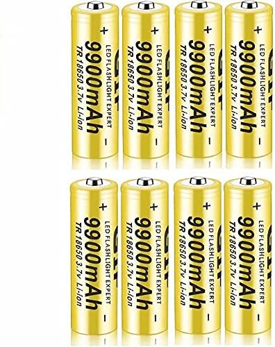 8 pcs Pilas 18650 Pilas Recargable 3,7 V 9900 Mah de Iones de Litio de Alta Capacidad Baterías, 1800 Ciclos de Larga Duración con Botón Superior Pilas para Linterna,18x65mm