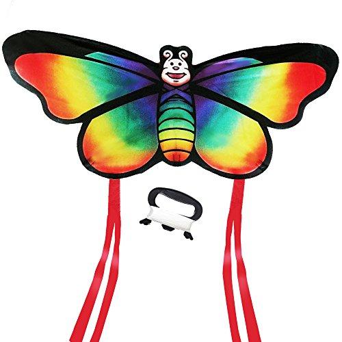 AGREATLIFE Riesiger Schmetterling-Leichtwinddrache mit 50m Drachenschnur - Lenkdrachen Windvogel für Kinder - Flugdrachen Einleiner - inkl. eBook zum Download - Allerbeste Flugeigenschaften