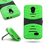 LG Lucid 3 Case, CoverON [Titan Armor Series] Dual Layer Silicone + Tough Cover Rugged Phone Case for LG Lucid 3 III - Lime Green