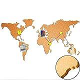 Weltkarte aus 100% Natur Kork ca. 100x55 cm – Pinnwand Selbstklebend   Wandbilder aus Kork  ...
