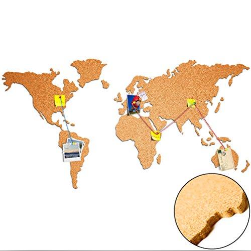 Weltkarte aus 100% Natur Kork ca. 100x55 cm – Pinnwand Selbstklebend | Wandbilder aus Kork | Holzdesign | Korktafel | Bilder Kontinente Welt Karte