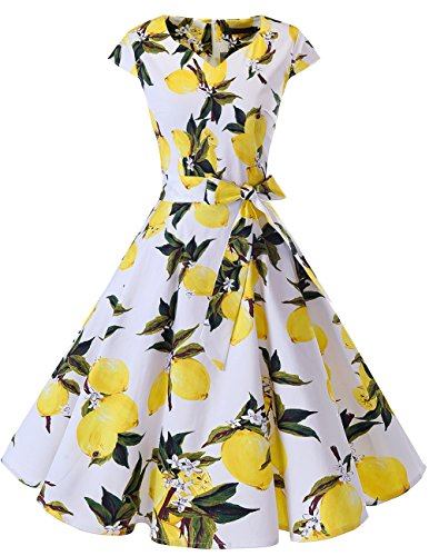 Dresstells Damen Vintage 50er Cap Sleeves Rockabilly Swing Kleider Retro Hepburn Stil Cocktailkleid Lemon L