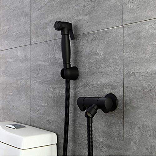 LONGWDS Cuarto de baño WC for montaje en pared con WC y bidé Monte Holder - Negro WC completo cobre Booster arma de aerosol de la explotación agrícola de baño de alta presión baño Lavadora Companion A