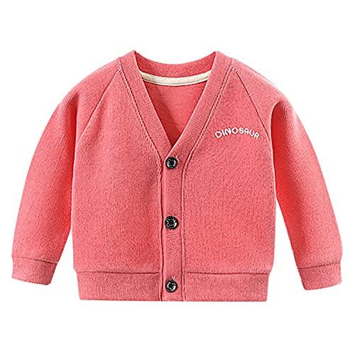 Chaqueta de escuela para bebé y niña, otoño e invierno, con botones, con capucha, ropa de punto, hot pink, 1-2 Años