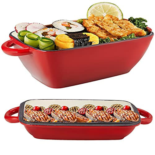 2 in 1 Enameled Cast Iron with 3.5in Deep Saucepan, Casserole Baking Pan for Oven/Stoves/Grill, 11in Rectangle Lasagna Pan Multi Baker Dish with Griddle Lid, Loop Handles, Non Stick Coating