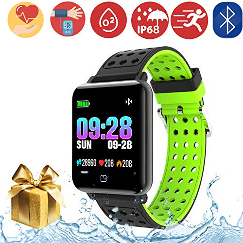 Bluetooth Smartwatch Fitness Uhr Intelligente Armbanduhr Fitness Tracker Smart Watch Sport Uhr mit Kamera Schrittzähler Schlaftracker Romte Capture Kompatibel mit Android Smartphone (M19-Black)