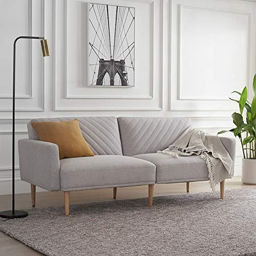 Mopio Chloe Convertible Futon Couch Bed, Fabric Tufted Modern Sofa Sleeper with Tapered Wood Legs, 76.8' L, Perfect Suit for Your Living Room, Light Gray