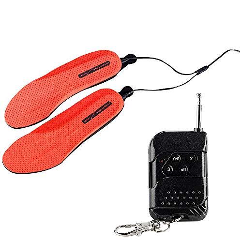 Monsterzeug Akku Schuheinlagen, beheizbare Einlegesohlen, Heizsohlen Einlagen, Thermo Sohlen Fußwärmer, Rot, zuschneidbar Größe 36-38