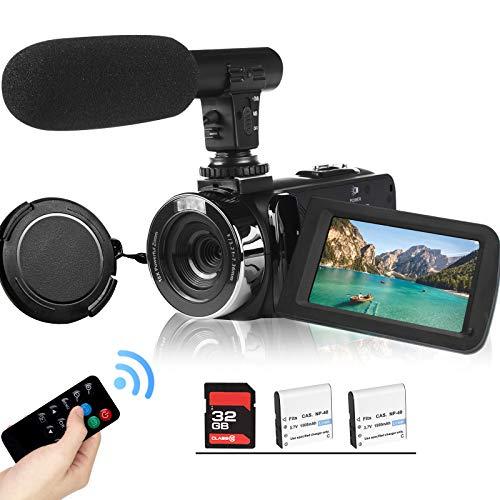 2,7K Videocamera Camcorder GDV1302 Fotocamera per vlogging ricaricabile Zoom digitale 18X Videocamera FHD 42MP 3' LCD con schermo ruotabile e microfono Telecomando Scheda SD da 32 GB e 2 batterie