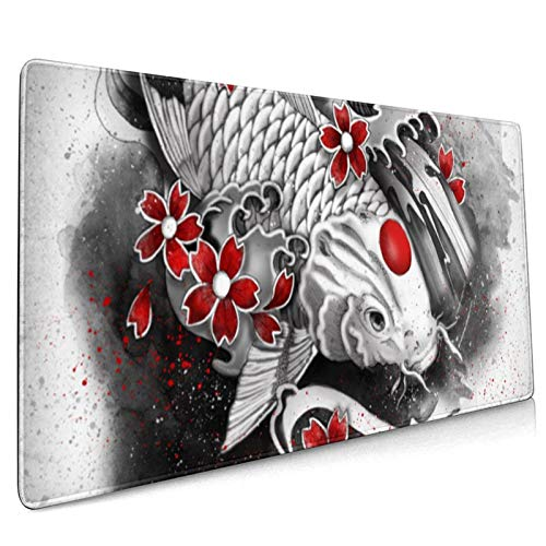 Japanese Art Koi Fish Gaming Mouse Pad Large Mouse Pad Mat Long Extended Mousepad Desk Pad Non-Slip Rubber Mice Pads Stitched Edges Computer Keyboard Mat 15.8x35.5 in (40cmx90cm)