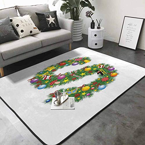 Kitchen Mat for Living Room Pine Design Letter S Christmas Ornaments Colorful Balls Stars Multicolored Pattern 60'x 72' Kitchen Floor mats