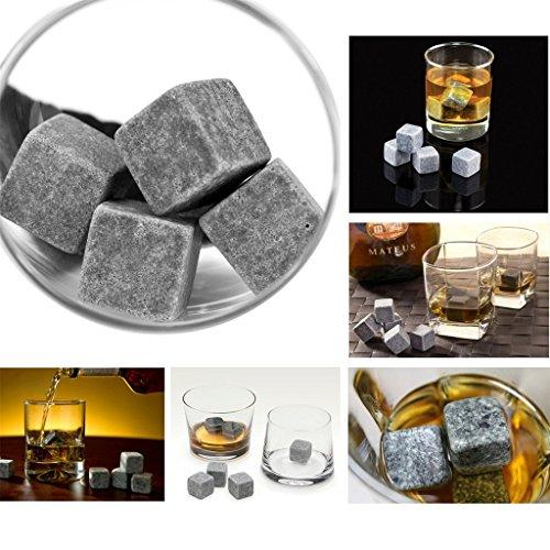 ERGEOB® 9er Set Whisky-Steine aus natürlichem Speckstein- Kühlsteine mit praktischen Stoffbeutel - 3