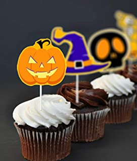 Halloween Theme Cupcake Toppers, Food/Appetizer Picks for Halloween Party Cupcake Mini Cake Decorations, 6 Style set of 48...