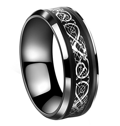 Tanyoyo 8mm Black Stainless Steel Ring Celtic Dragon Silver Wedding Band Sze 7-14 (10)