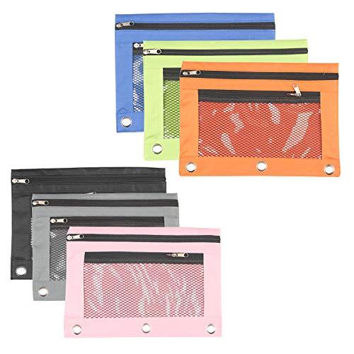 Matogle 6 Stück Ringbuch Mappe Etui Ringordner einheftbare Mesh Federmäppchen transparente binder pencil pouch 3 ring mit Reißverschluss Doppeltaschen für Schreibwaren Kosmetik (in 6 Farben)