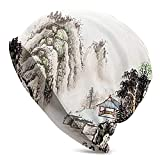 Sombrero de Lana Adult Chinese Landscape of Watercolor Painting Marquee in Valley Trees Sumi Style Beanie Hat Sport Casual Headwear Wide Headbands Scarf Hats Head Wrap Sweatband for Yoga
