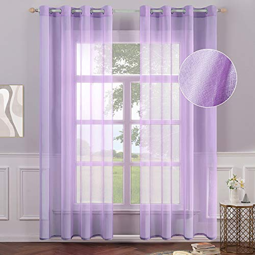 MIULEE 2 Panels Purple Semi Sheer Window Curtains Elegant Grommet Top Window Voile Panels/Drapes/Treatment Linen Textured Panels for Bedroom Living Room (54X84 Inches)