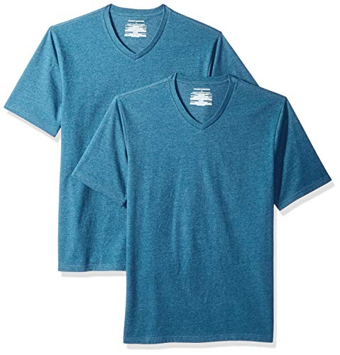 Amazon Essentials Herren T-Shirt, lockere Passform, V-Ausschnitt, 2er-Pack, Blau (Teal Heather Tea), M (50)