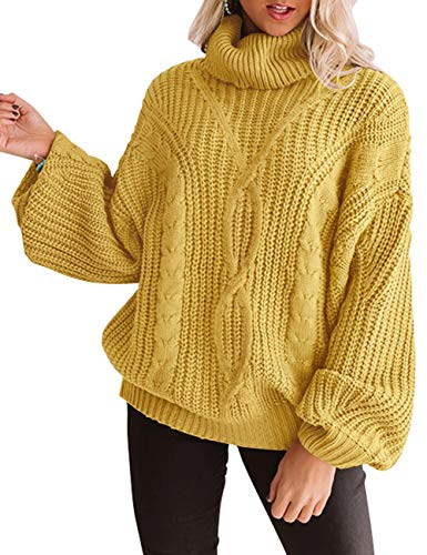 ZESICA Women's Long Sleeve Turtleneck Chunky Knit Loose Oversized Sweater Pullover Jumper Tops Yellow