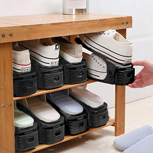 AQUAPRO Shoe Slots Organizer, Adjustable Shoe Stacker Space Saver, Double Deck Shoe Rack Holder for Closet Organization (20-Pack)(Black)