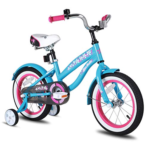 JOYSTAR 14 Inch Girls Bike with Training Wheels & Bell for 3 4 5 Years, Children Beach Cruiser Bicycle with Fender, Blue