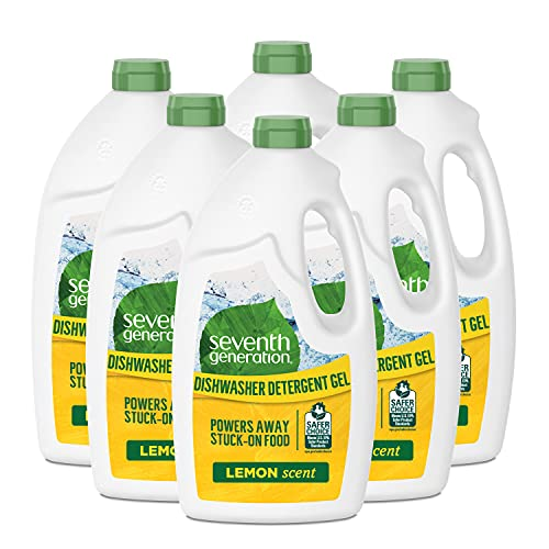 Seventh Generation Dishwasher Detergent Gel with Powerful Citric Acid, Lemon Scent, 42 oz (6 Pack)