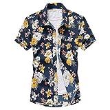 アロハシャツ メンズ ビーチシャツ 半袖シャツ 速乾 超軽量 プリントシャツ 夏 イベント 祭り 和柄シャツ ハワイアンシャツ アロハブルー XL_実際サイズ2Lに相当