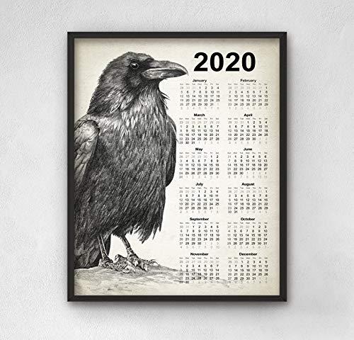 Rabenkalender 2020 3 Rabendekor Rabenstift Kunstkalender 2020 Rabenkunst Rabenvogelbild Rabenwandkunstdruck Gotische Kunst