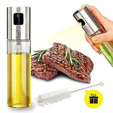 Oil Sprayer for Cooking, Olive Oil Sprayer Glass Bottle Vinegar Bottle Oil Dispenser with Brush Stainless Steel for BBQ/Cooking/Frying/Salad/Baking