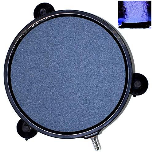 AquaticHI Large Round Disc Air Stone/Diffuser for Oxygenation in Fresh/Saltwater Tanks, Ponds, Hydroponic, Aquaponics, and as a Decorative Airstone for Aquariums (8 inch)