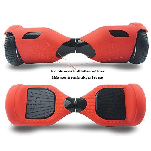 Doppel-EUST Silikon-Hoverboard-Abdeckung, Ganzkörper-Silikon-Gummi-Schutzhülle, für 16,5 cm (2 Räder), selbstbalancierend, rot