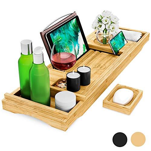Premium Badewannenablage aus Bambus-Holz - ONLINE MEDITATIONSKURS INKLUSIVE - Seifenschale, Getränkehalter, Buchständer, Handtuch-Box, Smartphone- und Tablet-Halterung - variabel ausziehbar