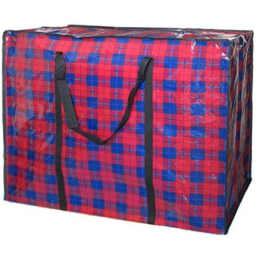 [MIKA&MAYA] ビッグバッグ 大きい 大容量 超特大 ボストンバッグ 収納 軽い サイズ アウトドア チェック柄 猫 (レッド×ネイビー)