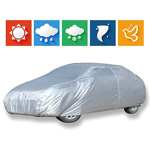 cciyu Car Cover 100% Waterproof Outdoor Auto Cover All Weather Windproof Snow-Proof Dust-Proof Scratch Resistant UV Protection fit Full Car Cover...
