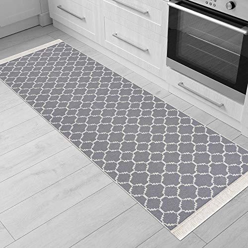Fashion4Home Teppich Läufer - Tepiche für Wohnzimmer, Schlafzimmer, Küche, Kinderzimmer, Badezimmer - Boho Kelim Teppiche - Läufer Flur Teppich Hellgrau-Weiß, Größe: 60x180 cm