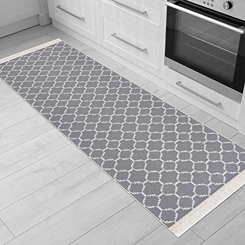 Fashion4Home Teppich Läufer - Tepiche für Wohnzimmer, Schlafzimmer, Küche, Kinderzimmer, Badezimmer - Boho Kelim Teppiche - Läufer Flur Teppich Hellgrau-Weiß, Größe: 60x90 cm
