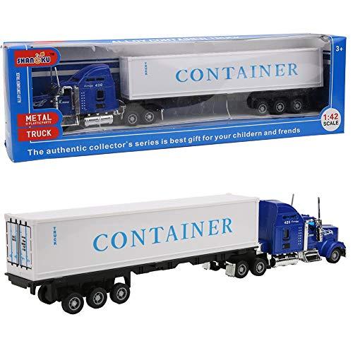 Zerodis 1:42 Simulation Lastwagen Spielzeug Leichtmetall Fahrzeug Modell mit Lenkradsteuerung Möbeldekoration Kollektion Dekorationsmodell Geschenk für Kinder über 3 Jahre alt(Blau)