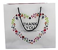 naissant 【6枚セット/マジックテープ付】 思い 伝わる ポップ でラブリー ギフトバッグ 選べる サイズ カラー プレゼント ラッピング 紙袋 L f/サンキュー ありがとう ・ 白 手提 (L)