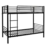 Bonnlo Metal Bunk Bed Twin Over Twin Heavy Duty Bed Frame with Safety Guard Rails & Flat Ladder W/Rubber Cover for Kids Teens Adults, Black