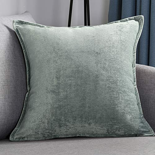QINUO HOME Decor Pillow Covers Soft Decorative Chenille Velvet Square Throw Pillow Sofa Cushion Covers Set Couch, 2 Pack, 18x18 inch (45cm), Duck egg