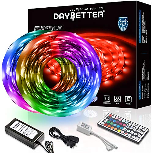 DAYBETTER Led Strip Lights 32.8ft 10m with 44 Keys IR Remote and 12V Power Supply Flexible Color Changing 5050 RGB 300 LEDs Light...