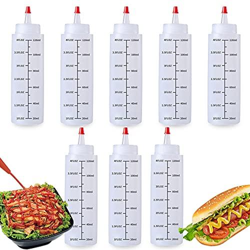 LUKIUP 8 pcs Botella de Salsa con Tapas, 120ml Botella de Ketchup,Botella Biberon de Salsas,Condimento Botellas,Dispensador de Botellas de Plástico para Salsa,BBQ, Aceite de Oliva