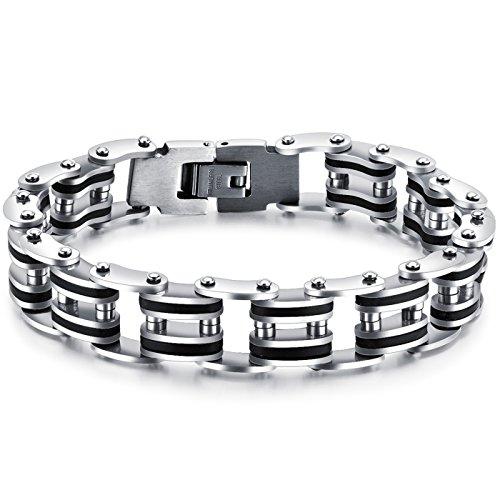 LOHOME Herren-Armband, mechanisch, Fahrradkette, Schwarz / Weiß
