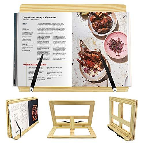 MONSIVILIA Drewniany stojak do czytania regulowany uchwyt na książki kucharskiej wielofunkcyjny przenośny bambusowy stojak na książki z 2 metalowymi uchwytami na książki kucharskie, tablety, smartfony - płyta główna 38,5 * 28,5 cm